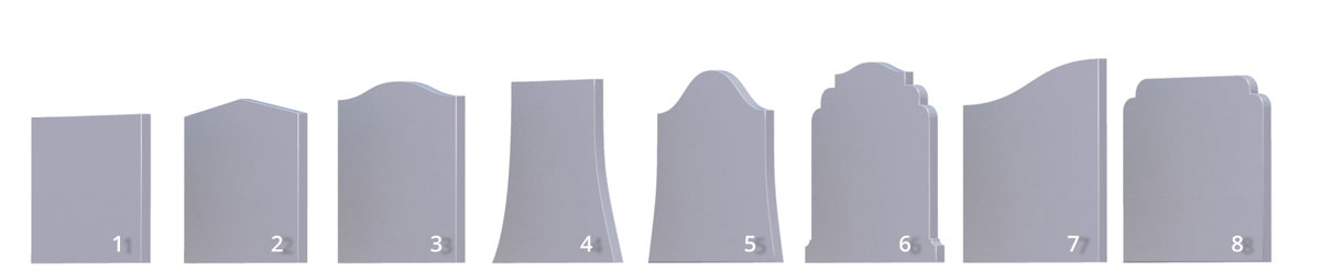 Basic headstone shapes