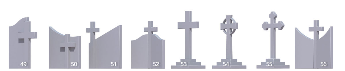 Cross combination headstone shapes