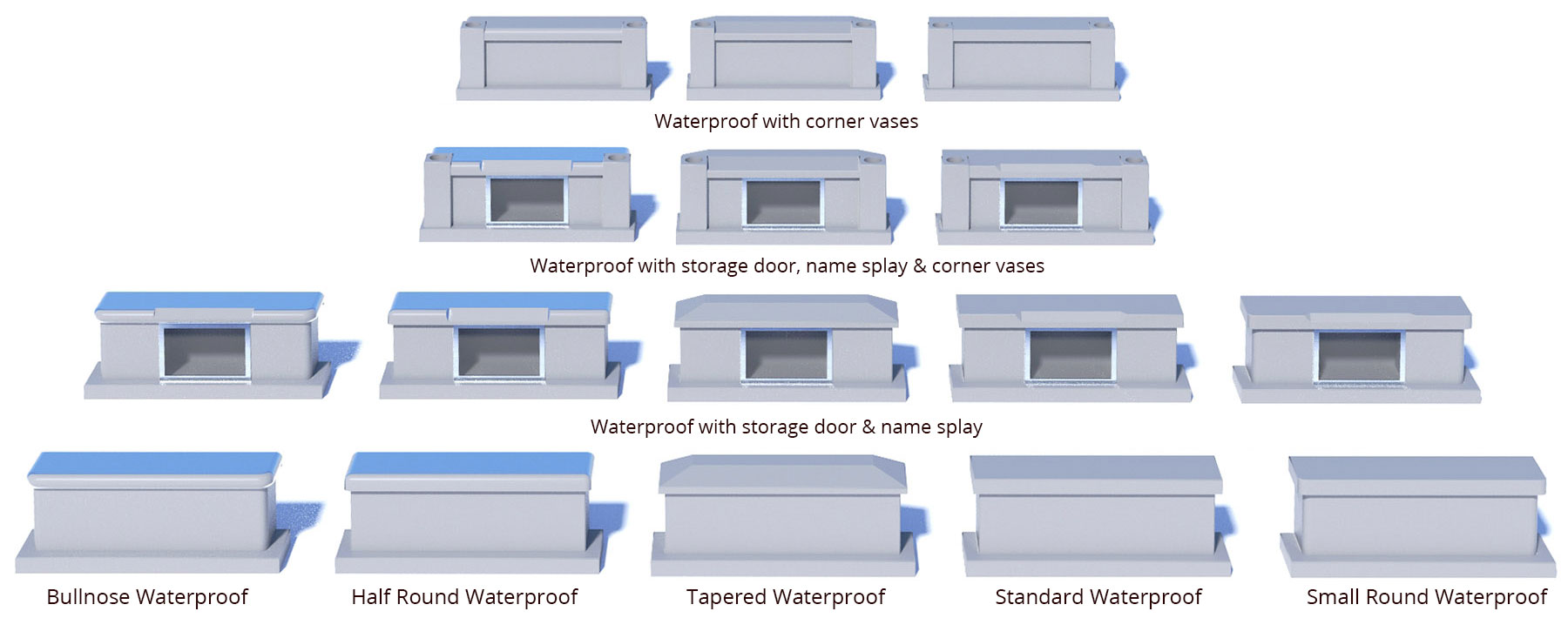 Waterprrof Front Stone Options